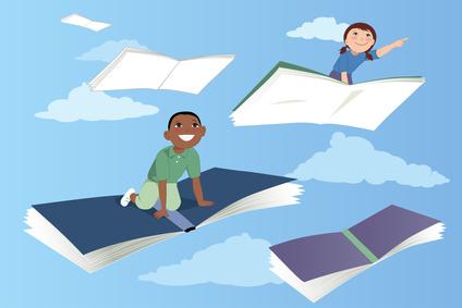 Little kids flying on books in the sky, vector illustration, EPS 8