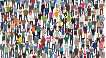 huge crowd of casual people as a vector background