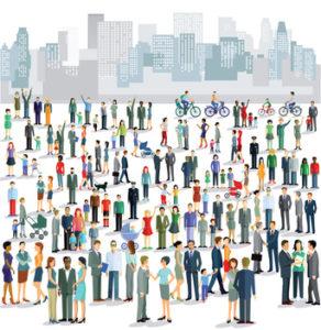 Gruppen von Stadtmenschen