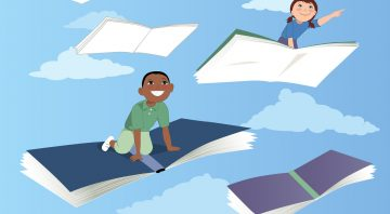 Little kids flying on books in the sky, vector illustration, EPS 8